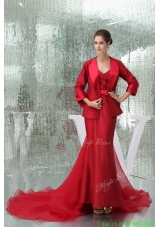 Summer Ankle length Sheath Sweetheart Bridal Gown in Red with Watteau Train and Sash