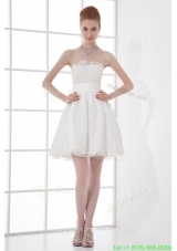 2015 Elegant A line Strapless Knee length Lace Belt White Wedding Dress