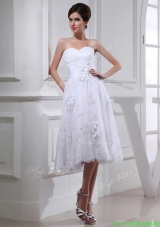 Discount A line Sweetheart Tulle Appliques White Wedding Dress with Knee length