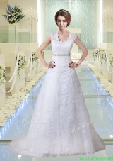 Elegant Lace V Neck Beading Wedding Dresses with Court Train