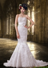 Mermaid Lace Strapless Fashionable Wedding Dresses with Court Train