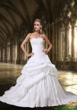 Princess Strapless Wedding Dresses with Appliques and Hand Made Flowers