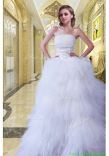 Romantic Strapless A Line Beading Brush Train Wedding Dress for 2015