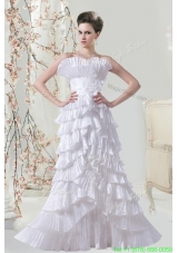 Cheap Pleat Column Floor Length Wedding Dress with Strapless