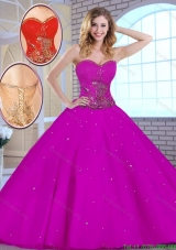 2016 Hot Sale Appliques Fuchsia Quinceanera Dresses with Sweetheart
