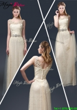 Empire Lace 2016 Prom Dresses with Appliques in Champagne