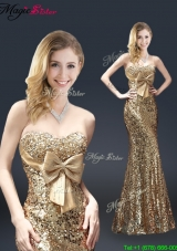 Fall Column Sequins 2016 Prom Dresses with Bowknot in Gold