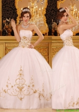 2016 Beautiful White Strapless Quinceanera Dresses with Appliques
