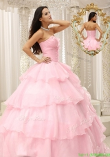 2016 Popular Beading and Ruffles Baby Pink Quinceanera Dresses