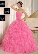 2016 Gorgeous Rose Pink Quinceanera Dresses with Ruffles and Beading