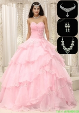 2016 Exquisite Beading and Ruffles Cheap Quinceanera Gowns in Baby Pink
