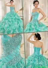2016 Brand New Apple Green Quinceanera Dresses with Beading and Ruffles