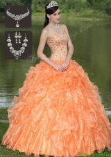 2016 Cheap Orange Quinceanera Dresses with Beading and Ruffles Layered