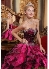 2016 Latest Ball Gown Sweetheart Beading and Ruffles Quinceanera Dresses