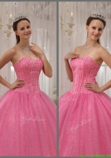 2016 Luxurious Pink Sweetheart Quinceanera Dresses with Beading