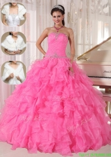 2016 Cheap Ball Gown Strapless Designer Quinceanera Dresses in Hot Pink