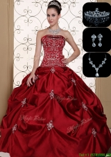2016 Latest Embroidery Strapless  Designer Quinceanera Dresses in Wine Red