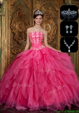 2016 New Arrivals Strapless Designer Quinceanera Dresses  with Appliques and Ruffles