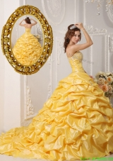 2016 Perfect Pick Ups and Appliques Designer Quinceanera Gowns with Court Train