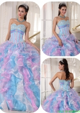 Beautiful Sweetheart Ruffles and Appliques Discount Quinceanera Dresses