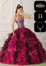 Exquisite Organza Ruffles Discount Quinceanera Dresses in Multi Color