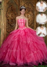 Hot Sale Strapless Discount Quinceanera Dresses with Appliques and Ruffles