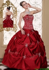 New Arrivals Embroidery Wine Red Strapless Discount Quinceanera Dresses