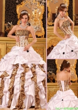 New Style Strapless Brush Train Discount Quinceanera Dresses in White