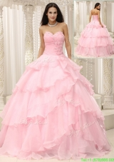Beautiful Baby Pink New Style Quinceanera Gowns with Beading and Ruffles