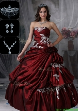 Classical Strapless New Style Quinceanera Dresses in Burgundy