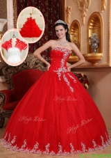 New Style Ball Gown Appliques Discount Quinceanera Dresses in Red
