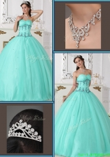 2016 Modern Beading Sweetheart Quinceanera Gowns in Green