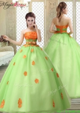 Latest Strapless Prom Dress with  Appliques and Belt