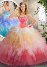 Beautiful Beading and Ruffles Quinceanera Gowns in Multi Color