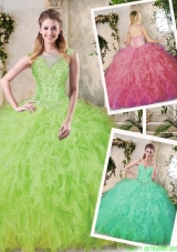 Cheap Ball Gown Quinceanera Dresses with Appliques and Ruffles
