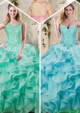 Cheap Sweetheart Quinceanera Dresses with Appliques and Ruffles