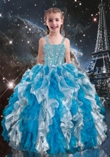 Pretty Straps Little Girl Pageant Dress with Beading and Ruffles for Spring