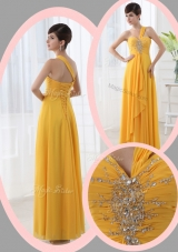 Beautiful Empire One Shoulder Beading Orange Prom Dresses for Holiday