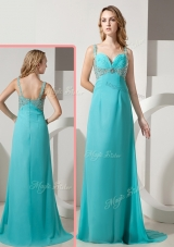 Elegant Empire Straps Beading Turquoise Prom Dresses with Brush Train  for 2016