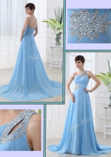 Sweet One Shoulder Brush Train Beading Prom Dress with Lace Up