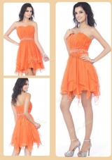 Cheap Sweetheart Beading and Ruching Short Junior Prom Dresses in Orange for 2016