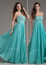 Classical Empire Strapless Turquoise Long Junior Prom Dress for 2016