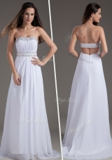 Discount Empire Strapless Brush Train White Prom Dresses