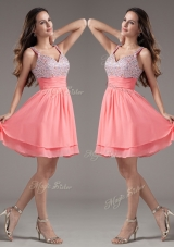 Discount Straps Beading Short Watermelon Prom Dresses