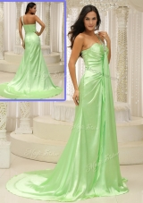 Elegant Column One Shoulder Beading Prom Dresses with Brush Train