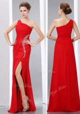 Elegant Column One Shoulder Junior Prom Dress with High Slit