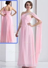 Elegant One Shoulder Baby Pink Junior Prom Dress with Ruching and Beading for 2016