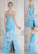 Gorgeous Mermaid Sweetheart Beading and Ruffled Layers Aqua Blue Prom Dresses