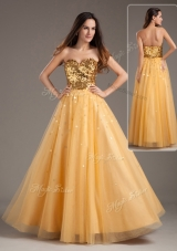 Luxurious Princess Sweetheart Sequins Long Prom Dresses in Gold
