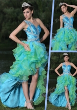 Pretty One Shoulder Side Zipper High Low Prom Dress in Multi Color